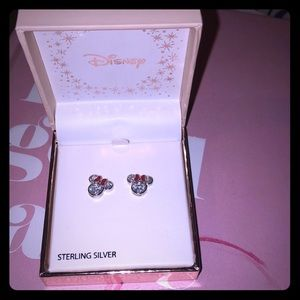 NWT Disney 925 Rhodium Plt CZ Minnie stud earrings
